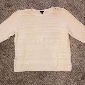 Talbots Cable Knit Cream Sweater Nautical Buttons